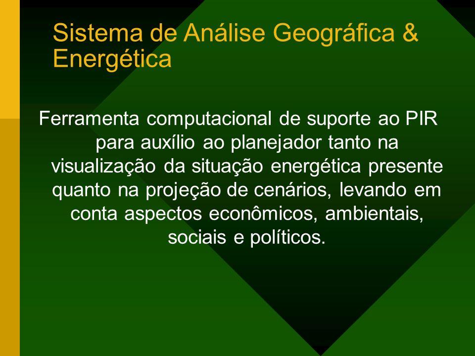 Ferramenta computacional de suporte ao PIR para auxílio ao planejador tanto na visualização da situação energética presente quanto na projeção de cenários, levando em conta aspectos econômicos, ambientais, sociais e políticos.