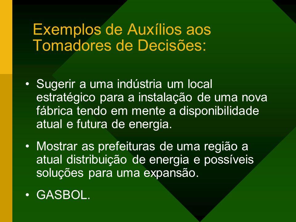 Exemplos de Auxílios aos Tomadores de Decisões: Sugerir a uma indústria um local estratégico para a instalação de uma nova fábrica tendo em mente a di