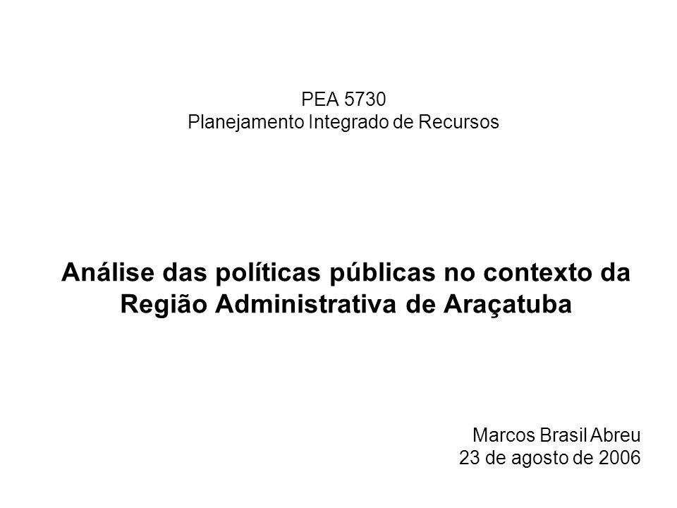 PEA 5730 Planejamento Integrado de Recursos Análise das políticas públicas no contexto da Região Administrativa de Araçatuba Marcos Brasil Abreu 23 de agosto de 2006