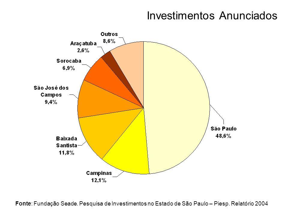 Fonte: Fundação Seade. Pesquisa de Investimentos no Estado de São Paulo – Piesp. Relatório 2004