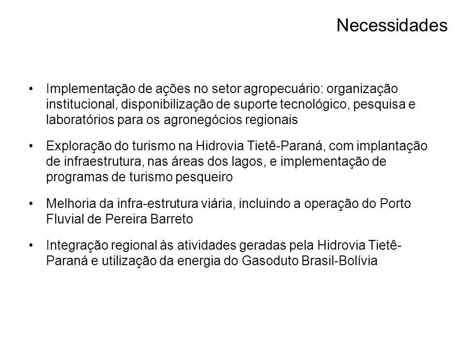 Implementação de ações no setor agropecuário: organização institucional, disponibilização de suporte tecnológico, pesquisa e laboratórios para os agronegócios regionais Exploração do turismo na Hidrovia Tietê-Paraná, com implantação de infraestrutura, nas áreas dos lagos, e implementação de programas de turismo pesqueiro Melhoria da infra-estrutura viária, incluindo a operação do Porto Fluvial de Pereira Barreto Integração regional às atividades geradas pela Hidrovia Tietê- Paraná e utilização da energia do Gasoduto Brasil-Bolívia Necessidades