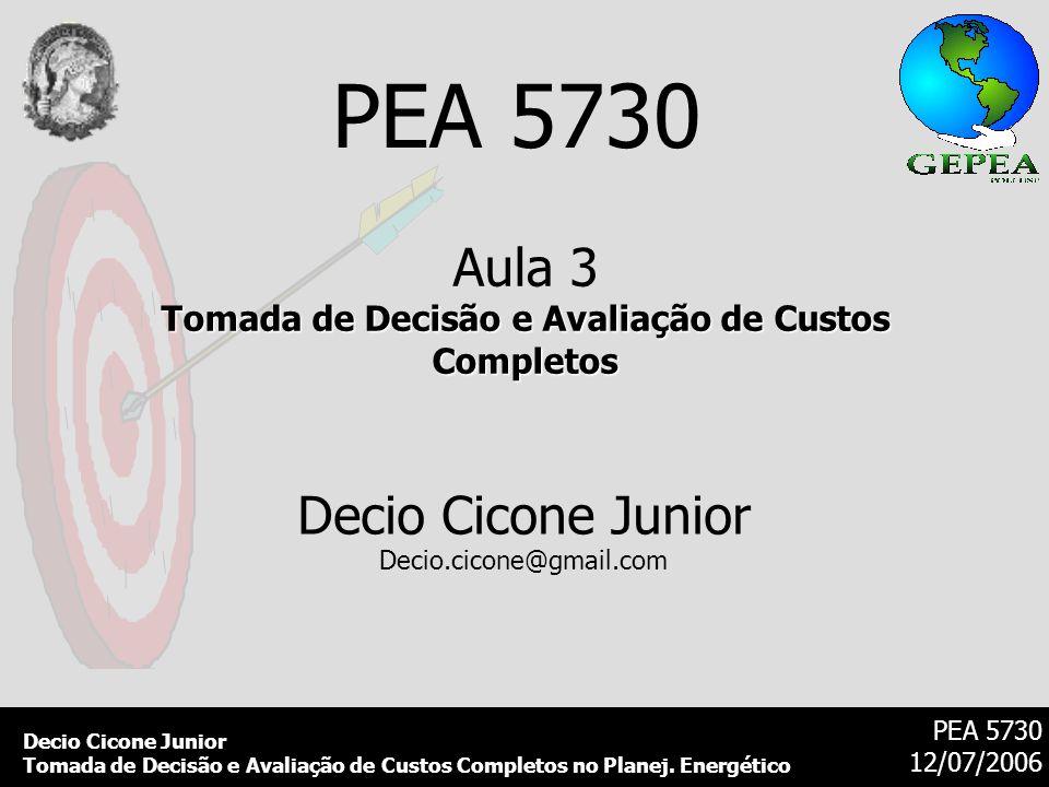 Decio Cicone Junior Tomada de Decisão e Avaliação de Custos Completos no Planej. Energético PEA 5730 12/07/2006 PEA 5730 Aula 3 Tomada de Decisão e Av
