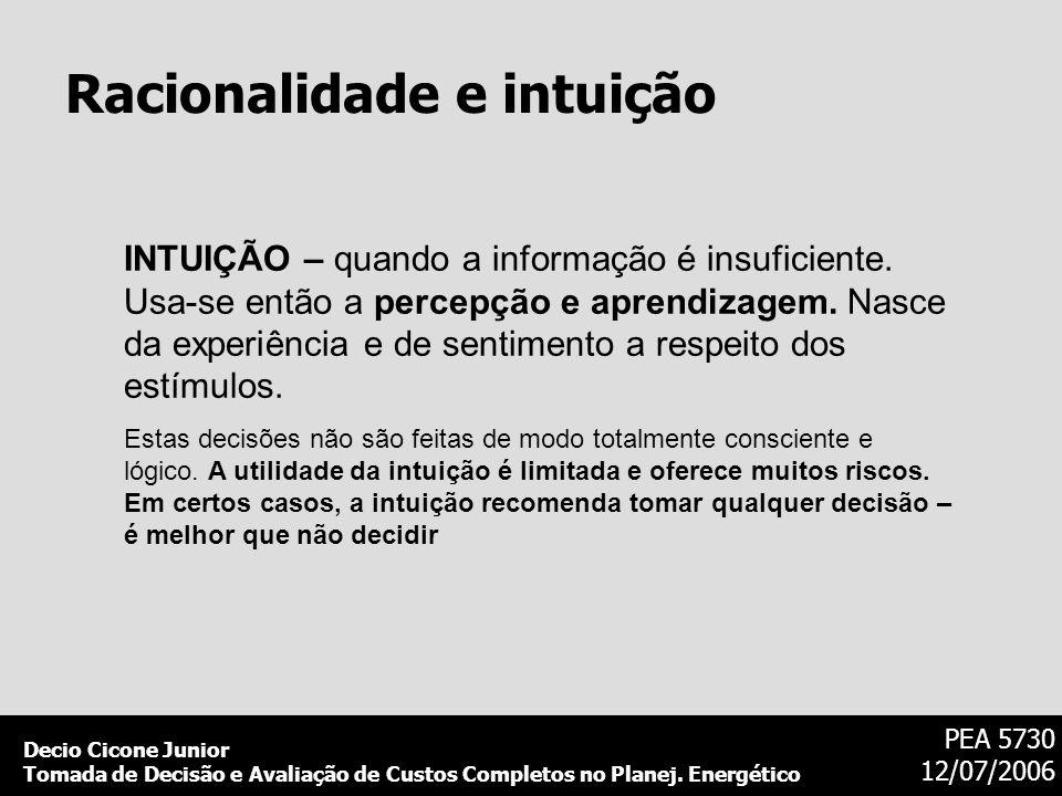 Decio Cicone Junior Tomada de Decisão e Avaliação de Custos Completos no Planej. Energético PEA 5730 12/07/2006 Racionalidade e intuição INTUIÇÃO – qu