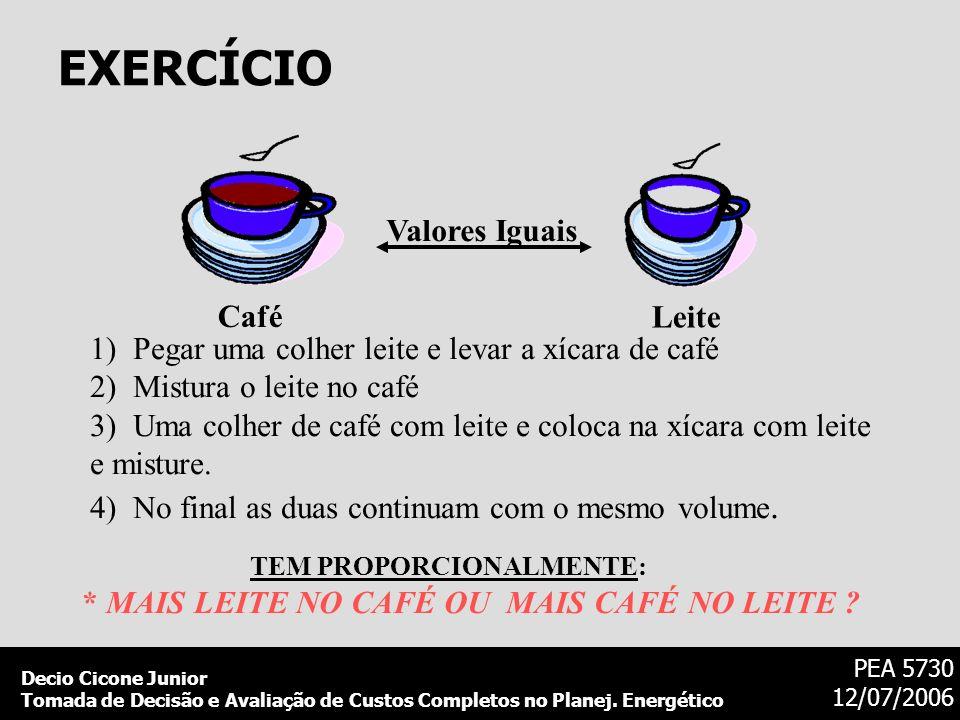 Decio Cicone Junior Tomada de Decisão e Avaliação de Custos Completos no Planej. Energético PEA 5730 12/07/2006 EXERCÍCIO Leite Café Valores Iguais 1)