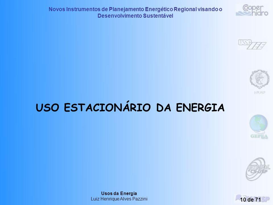 Novos Instrumentos de Planejamento Energético Regional visando o Desenvolvimento Sustentável Usos da Energia Luiz Henrique Alves Pazzini 9 de 71 Uso M