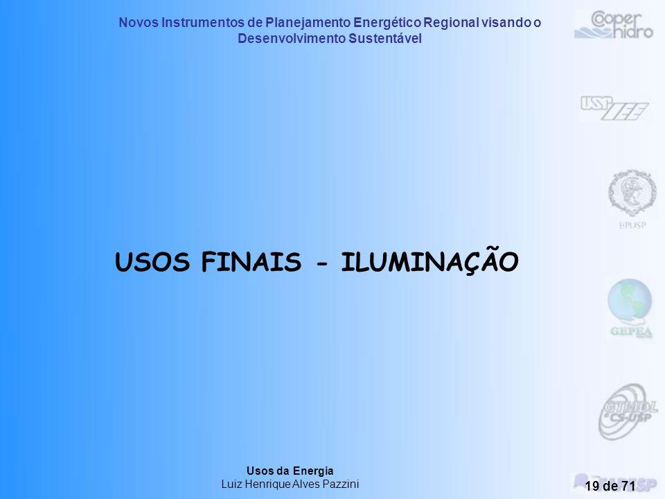Novos Instrumentos de Planejamento Energético Regional visando o Desenvolvimento Sustentável Usos da Energia Luiz Henrique Alves Pazzini 18 de 71 Dist