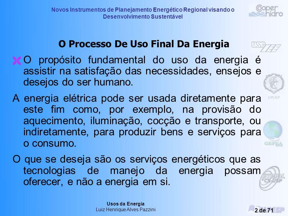Usos da Energia Luiz Henrique Alves Pazzini Treinamento – 3, 4 e 5 de novembro de 2004 Araçatuba - SP Novos Instrumentos de Planejamento Energético Re