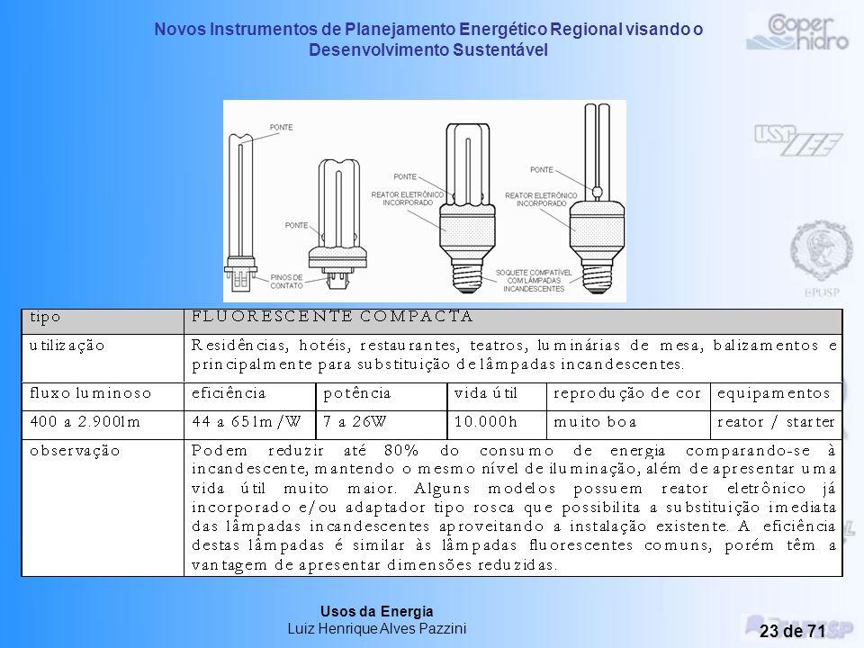 Novos Instrumentos de Planejamento Energético Regional visando o Desenvolvimento Sustentável Usos da Energia Luiz Henrique Alves Pazzini 22 de 71 2 –