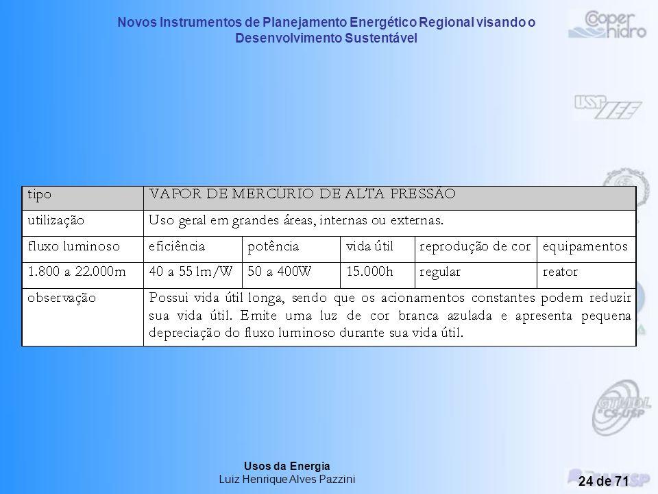 Novos Instrumentos de Planejamento Energético Regional visando o Desenvolvimento Sustentável Usos da Energia Luiz Henrique Alves Pazzini 23 de 71