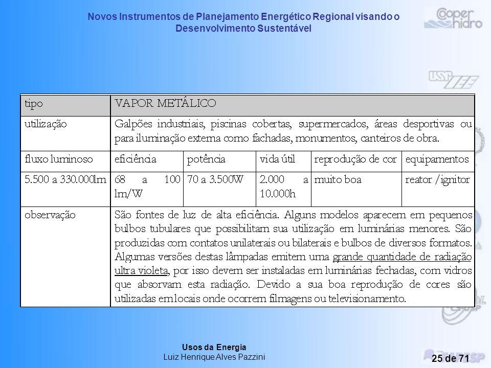 Novos Instrumentos de Planejamento Energético Regional visando o Desenvolvimento Sustentável Usos da Energia Luiz Henrique Alves Pazzini 24 de 71