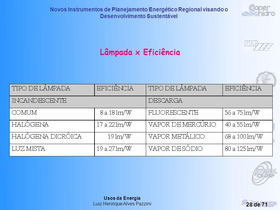 Novos Instrumentos de Planejamento Energético Regional visando o Desenvolvimento Sustentável Usos da Energia Luiz Henrique Alves Pazzini 27 de 71