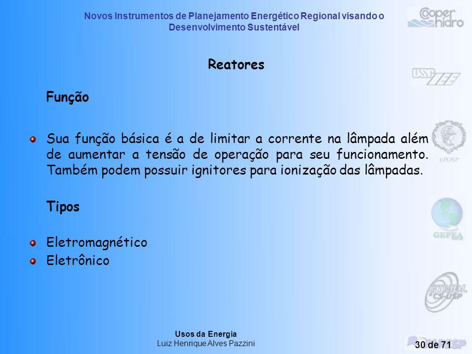 Novos Instrumentos de Planejamento Energético Regional visando o Desenvolvimento Sustentável Usos da Energia Luiz Henrique Alves Pazzini 29 de 71 Lumi