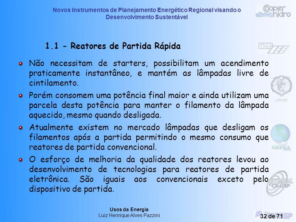 Novos Instrumentos de Planejamento Energético Regional visando o Desenvolvimento Sustentável Usos da Energia Luiz Henrique Alves Pazzini 31 de 71 1 -