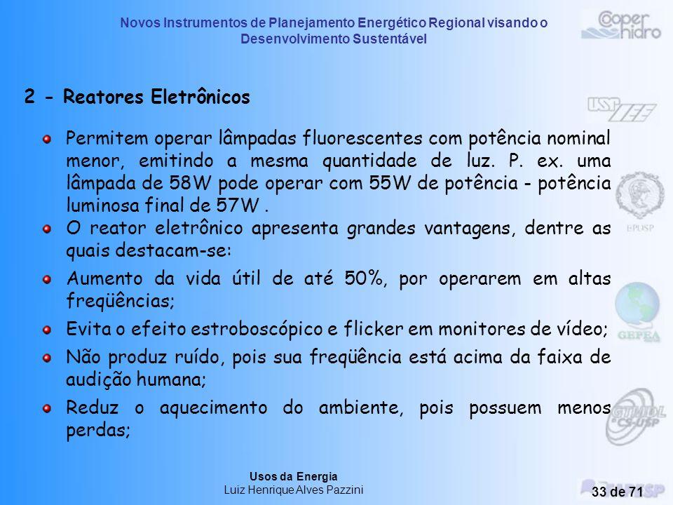 Novos Instrumentos de Planejamento Energético Regional visando o Desenvolvimento Sustentável Usos da Energia Luiz Henrique Alves Pazzini 32 de 71 1.1