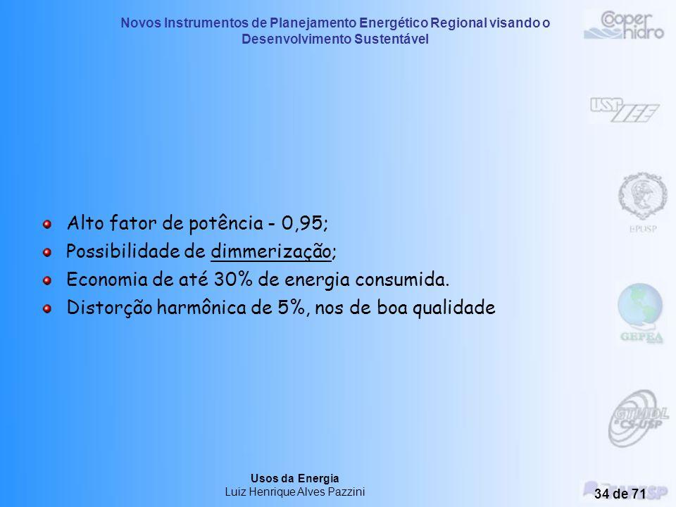 Novos Instrumentos de Planejamento Energético Regional visando o Desenvolvimento Sustentável Usos da Energia Luiz Henrique Alves Pazzini 33 de 71 Perm