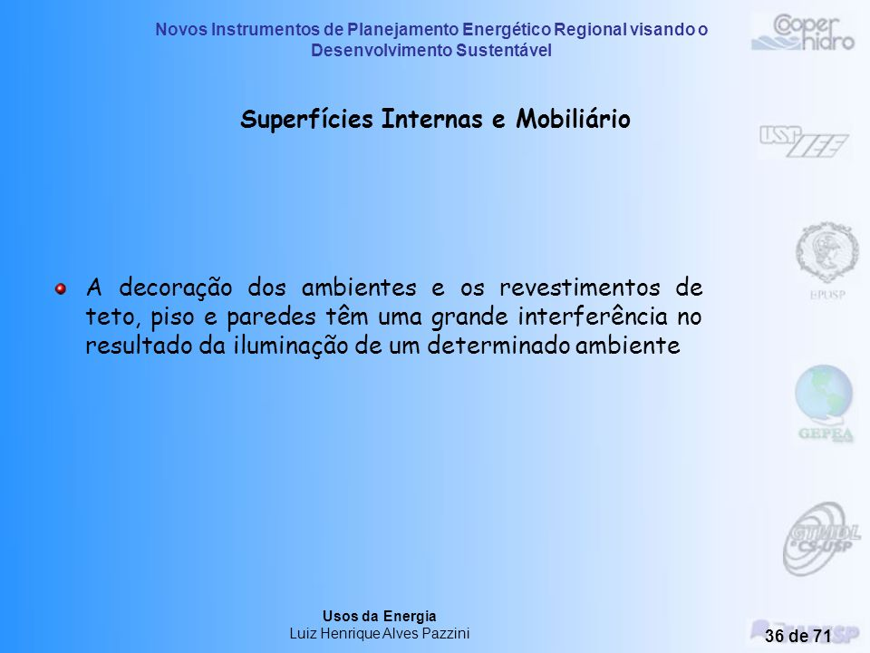 Novos Instrumentos de Planejamento Energético Regional visando o Desenvolvimento Sustentável Usos da Energia Luiz Henrique Alves Pazzini 35 de 71 Circ