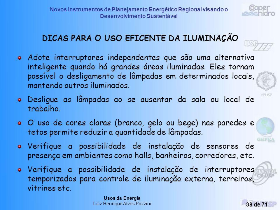 Novos Instrumentos de Planejamento Energético Regional visando o Desenvolvimento Sustentável Usos da Energia Luiz Henrique Alves Pazzini 37 de 71 Dete