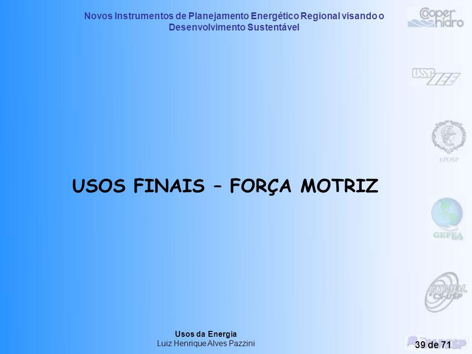 Novos Instrumentos de Planejamento Energético Regional visando o Desenvolvimento Sustentável Usos da Energia Luiz Henrique Alves Pazzini 38 de 71 DICA
