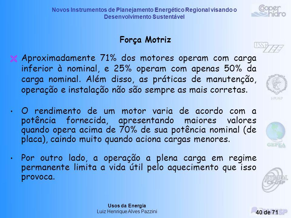 Novos Instrumentos de Planejamento Energético Regional visando o Desenvolvimento Sustentável Usos da Energia Luiz Henrique Alves Pazzini 39 de 71 USOS