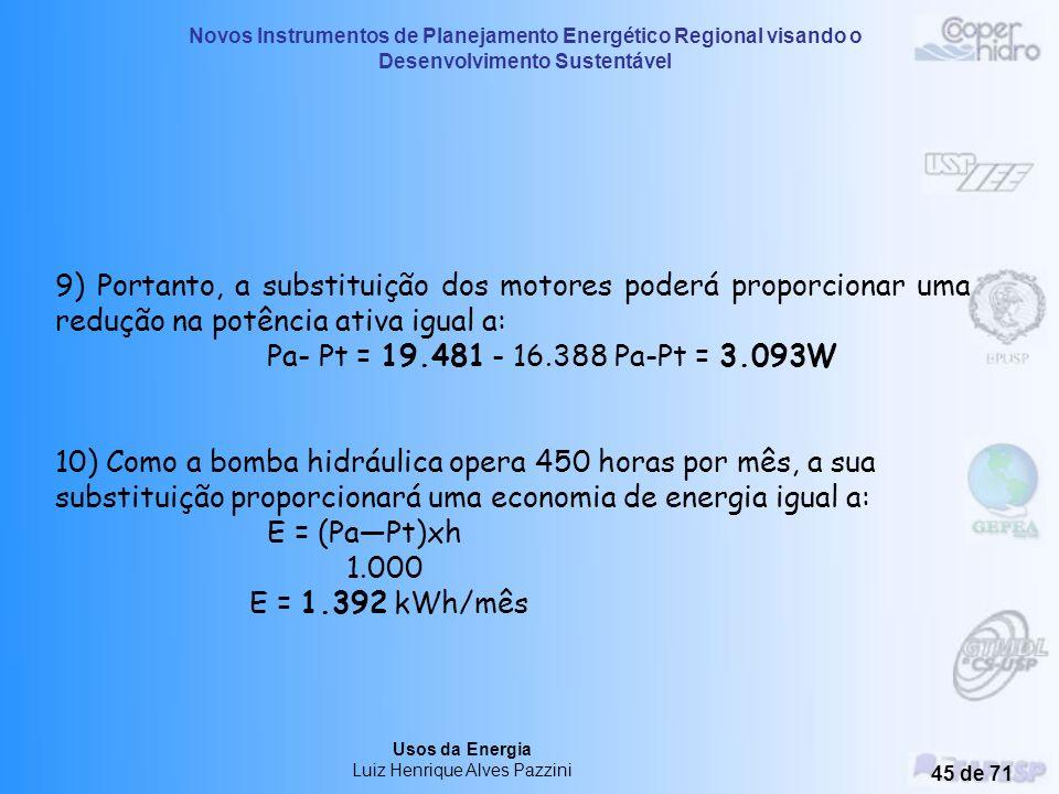 Novos Instrumentos de Planejamento Energético Regional visando o Desenvolvimento Sustentável Usos da Energia Luiz Henrique Alves Pazzini 44 de 71 4) A