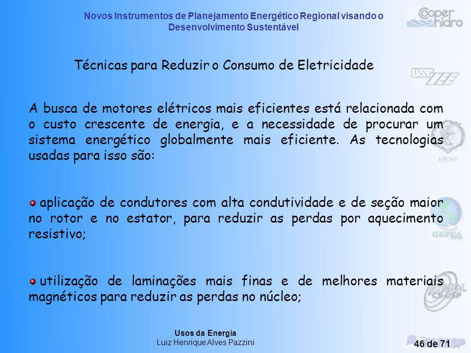 Novos Instrumentos de Planejamento Energético Regional visando o Desenvolvimento Sustentável Usos da Energia Luiz Henrique Alves Pazzini 45 de 71 9) P
