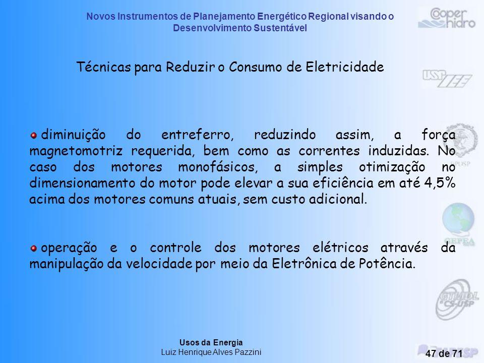 Novos Instrumentos de Planejamento Energético Regional visando o Desenvolvimento Sustentável Usos da Energia Luiz Henrique Alves Pazzini 46 de 71 Técn