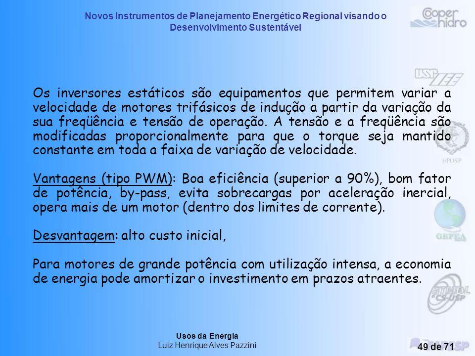 Novos Instrumentos de Planejamento Energético Regional visando o Desenvolvimento Sustentável Usos da Energia Luiz Henrique Alves Pazzini 48 de 71 Vari