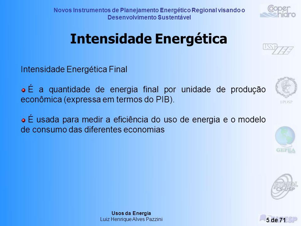 Novos Instrumentos de Planejamento Energético Regional visando o Desenvolvimento Sustentável Usos da Energia Luiz Henrique Alves Pazzini 4 de 71 Fonte