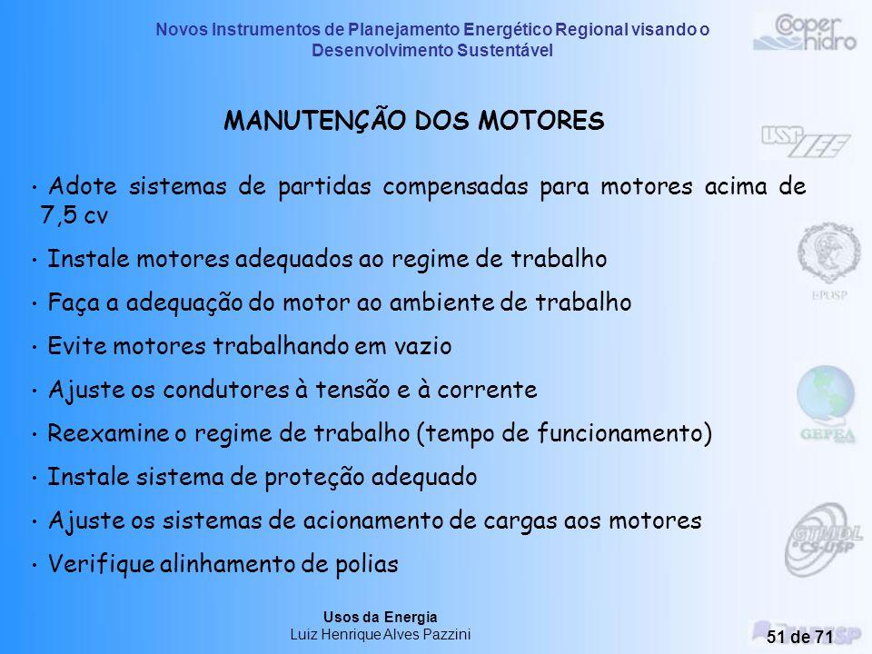 Novos Instrumentos de Planejamento Energético Regional visando o Desenvolvimento Sustentável Usos da Energia Luiz Henrique Alves Pazzini 50 de 71 Moto