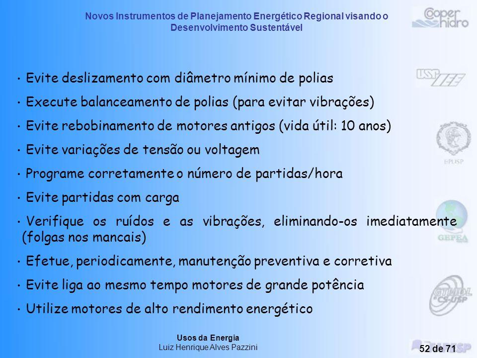 Novos Instrumentos de Planejamento Energético Regional visando o Desenvolvimento Sustentável Usos da Energia Luiz Henrique Alves Pazzini 51 de 71 MANU