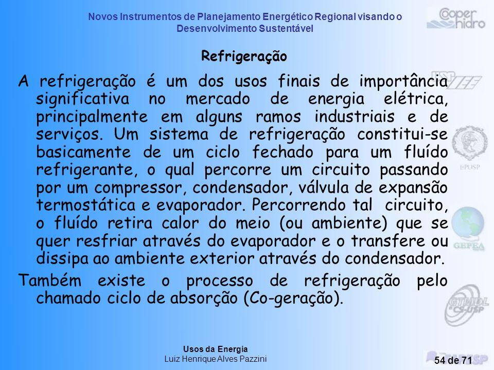 Novos Instrumentos de Planejamento Energético Regional visando o Desenvolvimento Sustentável Usos da Energia Luiz Henrique Alves Pazzini 53 de 71 USOS