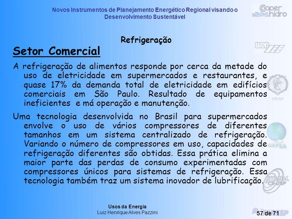Novos Instrumentos de Planejamento Energético Regional visando o Desenvolvimento Sustentável Usos da Energia Luiz Henrique Alves Pazzini 56 de 71 Refr