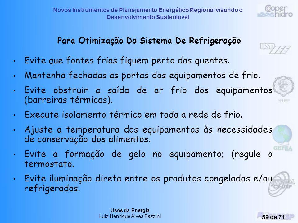 Novos Instrumentos de Planejamento Energético Regional visando o Desenvolvimento Sustentável Usos da Energia Luiz Henrique Alves Pazzini 58 de 71 Refr