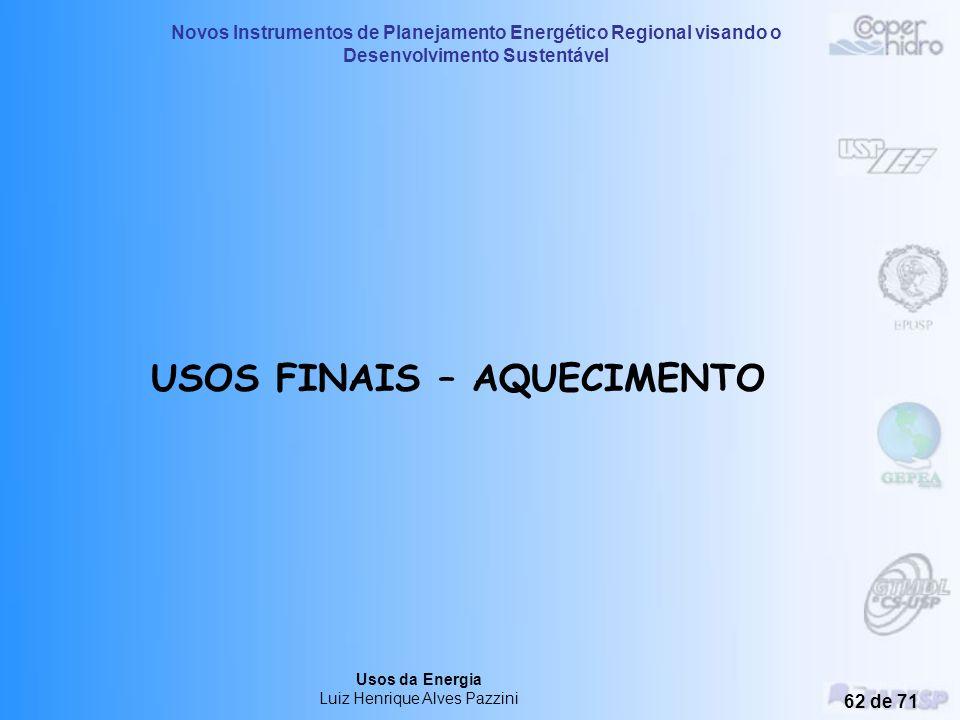 Novos Instrumentos de Planejamento Energético Regional visando o Desenvolvimento Sustentável Usos da Energia Luiz Henrique Alves Pazzini 61 de 71 Apro