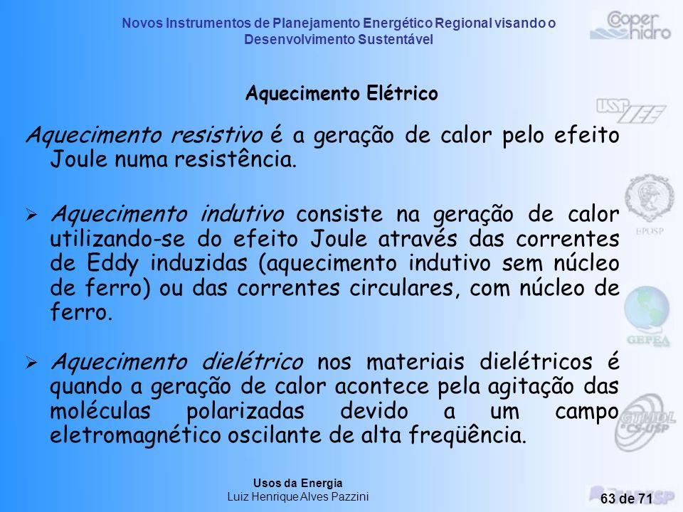 Novos Instrumentos de Planejamento Energético Regional visando o Desenvolvimento Sustentável Usos da Energia Luiz Henrique Alves Pazzini 62 de 71 USOS