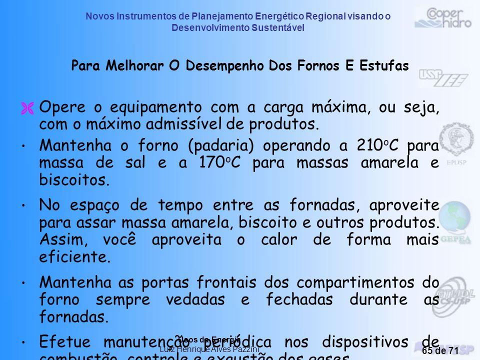 Novos Instrumentos de Planejamento Energético Regional visando o Desenvolvimento Sustentável Usos da Energia Luiz Henrique Alves Pazzini 64 de 71 Aque
