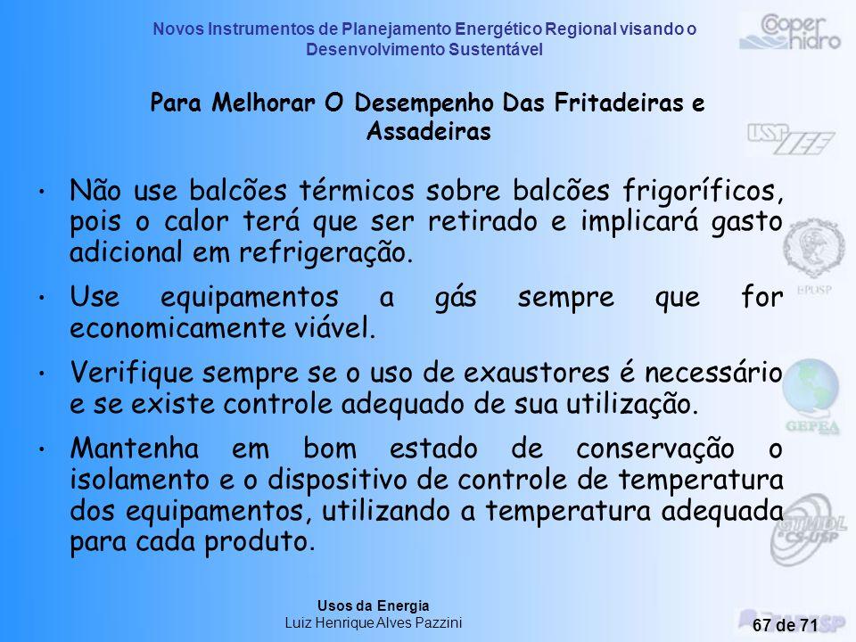 Novos Instrumentos de Planejamento Energético Regional visando o Desenvolvimento Sustentável Usos da Energia Luiz Henrique Alves Pazzini 66 de 71 Mant