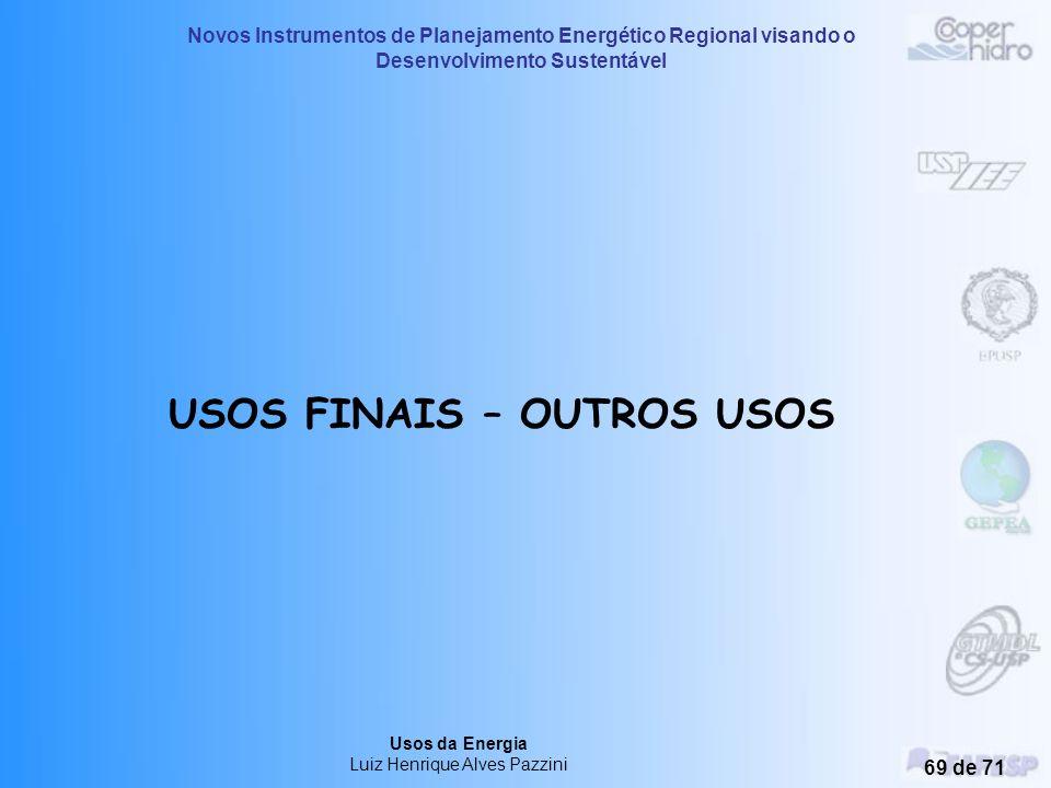 Novos Instrumentos de Planejamento Energético Regional visando o Desenvolvimento Sustentável Usos da Energia Luiz Henrique Alves Pazzini 68 de 71 Apro