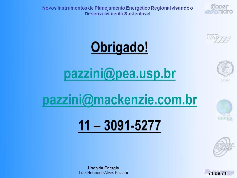 Novos Instrumentos de Planejamento Energético Regional visando o Desenvolvimento Sustentável Usos da Energia Luiz Henrique Alves Pazzini 70 de 71 Outr