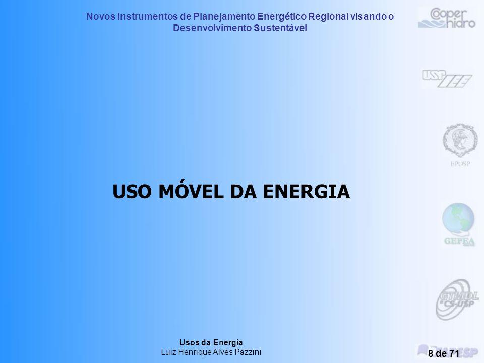 Novos Instrumentos de Planejamento Energético Regional visando o Desenvolvimento Sustentável Usos da Energia Luiz Henrique Alves Pazzini 7 de 71 Propo