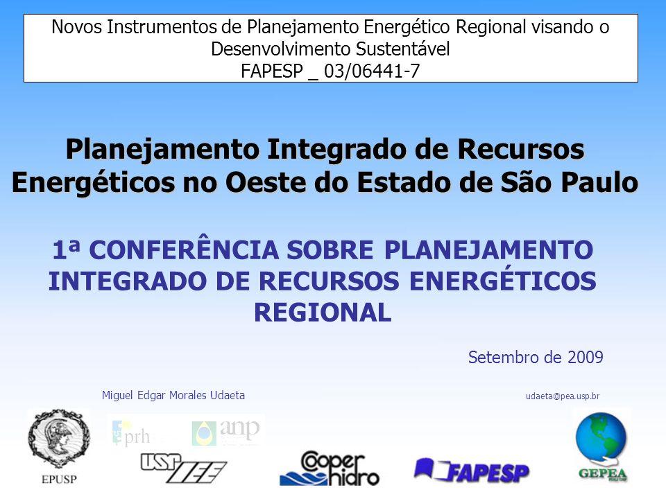 Planejamento Integrado de Recursos Energéticos no Oeste do Estado de São Paulo Novos Instrumentos de Planejamento Energético Regional visando o Desenvolvimento Sustentável FAPESP _ 03/06441-7 1ª CONFERÊNCIA SOBRE PLANEJAMENTO INTEGRADO DE RECURSOS ENERGÉTICOS REGIONAL Setembro de 2009 Miguel Edgar Morales Udaeta udaeta@pea.usp.br