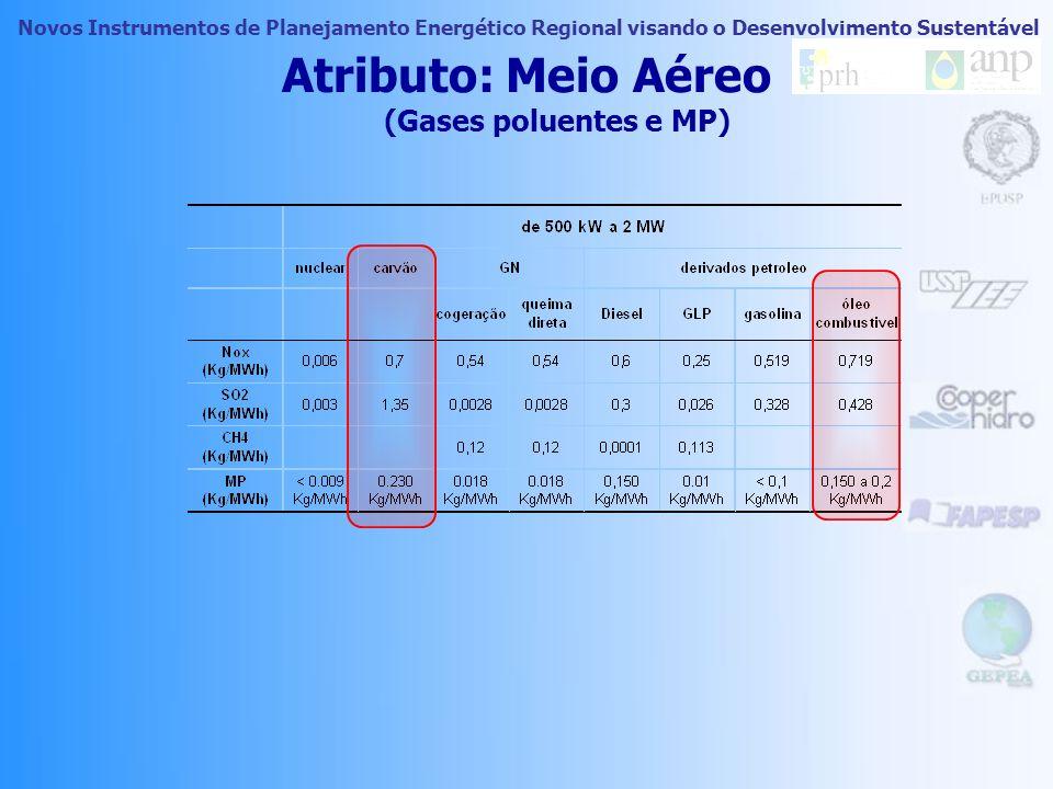 Novos Instrumentos de Planejamento Energético Regional visando o Desenvolvimento Sustentável Atributo: Meio Aéreo (Gases poluentes e MP)