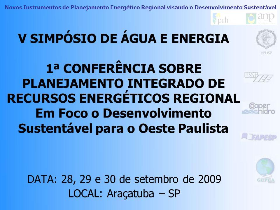 Novos Instrumentos de Planejamento Energético Regional visando o Desenvolvimento Sustentável V SIMPÓSIO DE ÁGUA E ENERGIA 1ª CONFERÊNCIA SOBRE PLANEJAMENTO INTEGRADO DE RECURSOS ENERGÉTICOS REGIONAL Em Foco o Desenvolvimento Sustentável para o Oeste Paulista DATA: 28, 29 e 30 de setembro de 2009 LOCAL: Araçatuba – SP