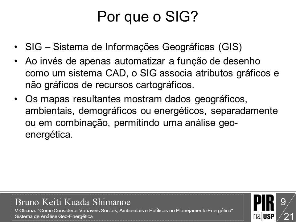 Bruno Keiti Kuada Shimanoe V Oficina: Como Considerar Variáveis Sociais, Ambientais e Políticas no Planejamento Energético Sistema de Análise Geo-Energética 21 9 Por que o SIG.