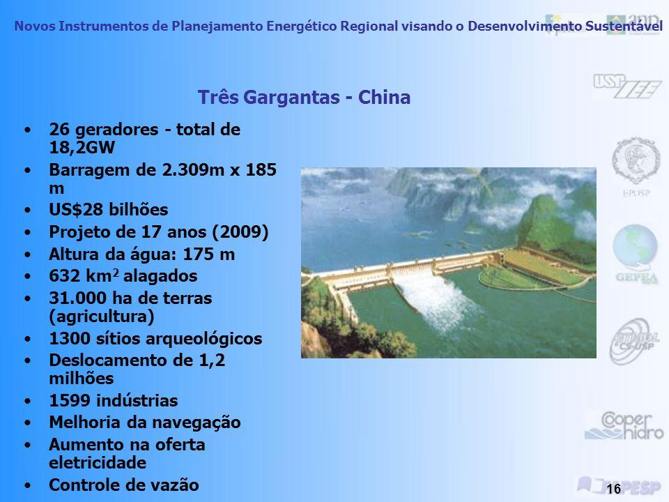 Novos Instrumentos de Planejamento Energético Regional visando o Desenvolvimento Sustentável 15 Vista aérea de Três Gargantas – China
