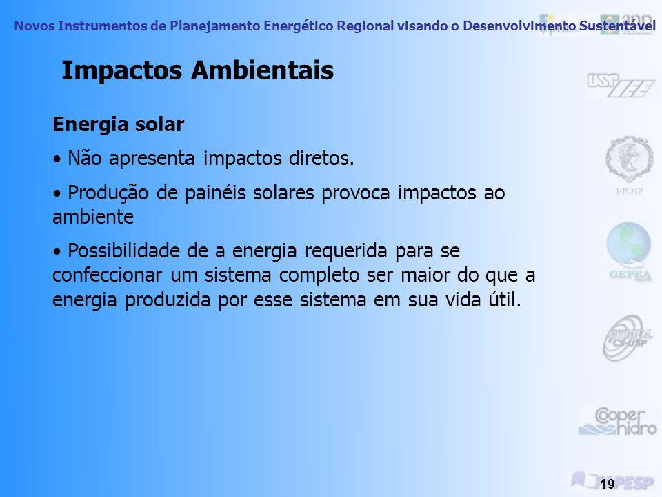 Novos Instrumentos de Planejamento Energético Regional visando o Desenvolvimento Sustentável 18 Energia Eólica Quase total ausência de impactos ambien
