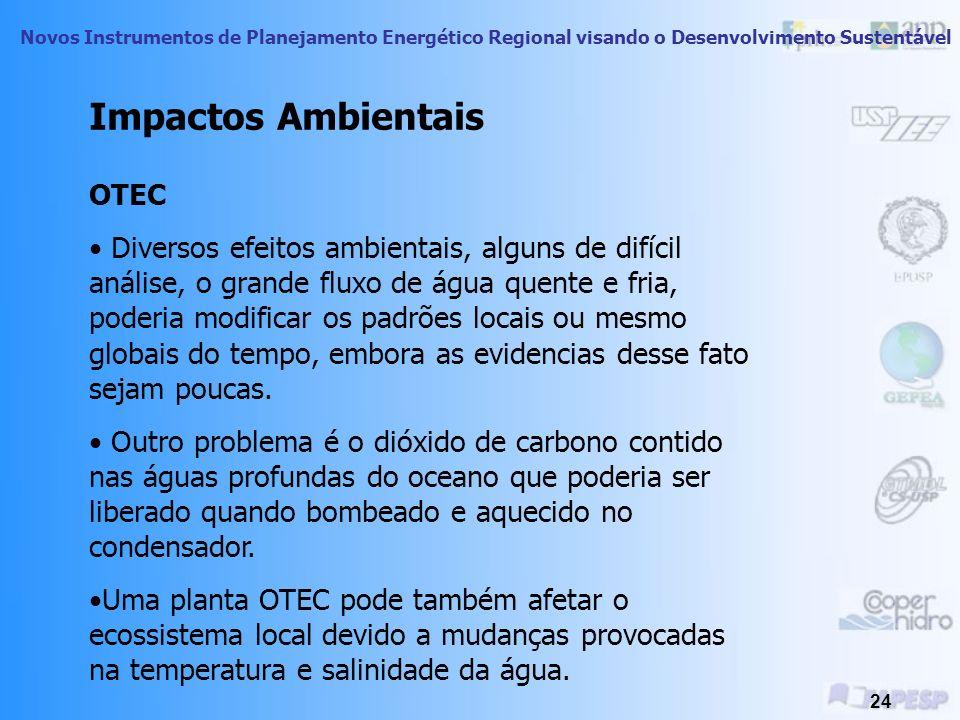 Novos Instrumentos de Planejamento Energético Regional visando o Desenvolvimento Sustentável 23 Energia das Ondas Ambiente costeiro pode ser afetado p