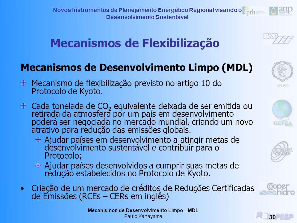 Novos Instrumentos de Planejamento Energético Regional visando o Desenvolvimento Sustentável Mecanismos de Desenvolvimento Limpo - MDL Paulo Kanayama