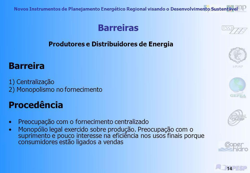 Novos Instrumentos de Planejamento Energético Regional visando o Desenvolvimento Sustentável 13 Medidas Sugeridas Mudança do foco de consumo para os s