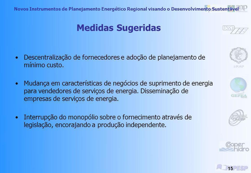 Novos Instrumentos de Planejamento Energético Regional visando o Desenvolvimento Sustentável 14 Produtores e Distribuidores de Energia Barreira 1) Cen